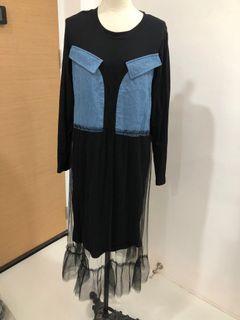 Mesh bottom maxi dress