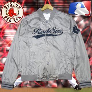 MLB BOSTON RED SOX SILVER GRAY VARSITY BASEBALL JACKET ORIGINAL AUTHENTIC