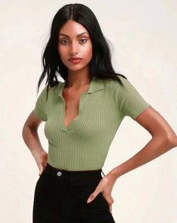 Pistachio green ribbed collared top