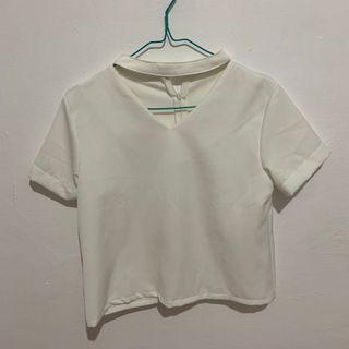 (Preloved) White Top/White Blouse