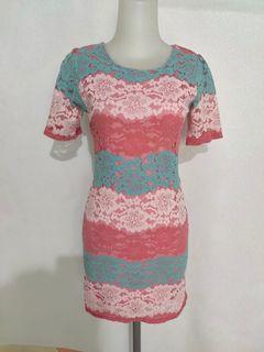 Terusan kain renda brokat lace bodycon dress