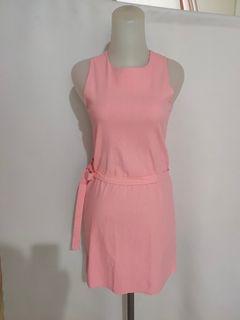 Terusan pink no sleeves super stretchy
