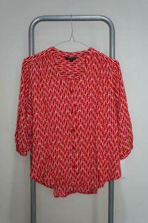The Executive - Red Patterned Blouse