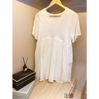 [孕哺]純白輕蕾絲洋裝-Xl