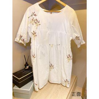 [孕哺]花朵刺繡洋裝-XL