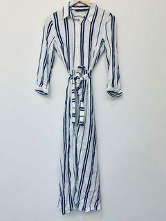 Zara連身直條紋排釦綁帶開叉長洋裝長外套