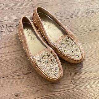 近新❤️36號香港購滿版珠飾裸色平底鞋