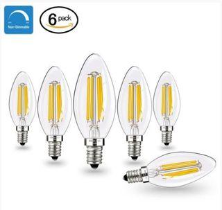 [6 Pack] Candelabra LED Filament Bulb CooWoo  - Dimmable,C35, 4 Watt, E14 Base,2700K Warm White, Clear Glass
