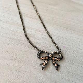 全新❤️古銅色水鑽飾蝴蝶結🎀長項鍊