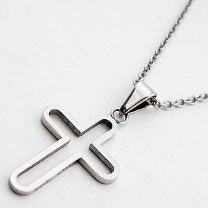 【全新】 銀鎮 316L鋼飾 鏤空十字架項鍊