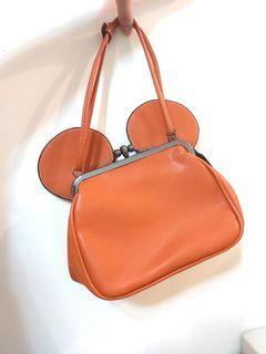 棕色可愛包包 手提包 米奇圖案