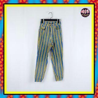 二手 藍黃 條紋 微彈性 牛仔 高腰 26 長褲 D616 【明太子 古著應召站】