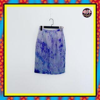 二手 紫色 薄紗暈染印花 輕薄飄逸 窄版 合身 高腰 25 長裙 D615 【明太子 古著應召站】
