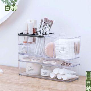 化妝品收納盒收納櫃 化妝品收納 桌上收納 桌面收納盒 多格整理盒 透明抽屜式收納 口紅筆刷筒透明置物架 儲物盒