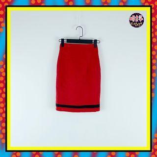 二手 紅色 輕薄 拼接 黑條紋 窄版 合身 高腰 22 短裙 D615 【明太子 古著應召站】
