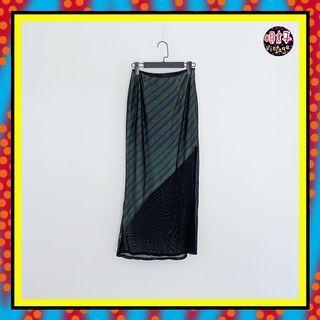 二手 黑色 薄紗 輕薄飄逸 彈性 內層紫黃綠配色 織紋 窄版 合身 高腰 27 長裙 D615 【明太子 古著應召站】