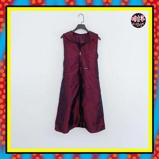 二手 暗紫色 微亮面 略挺 風衣材質 腰綁帶 上拉鍊 寬版 洋裝 D615【明太子 古著應召站】