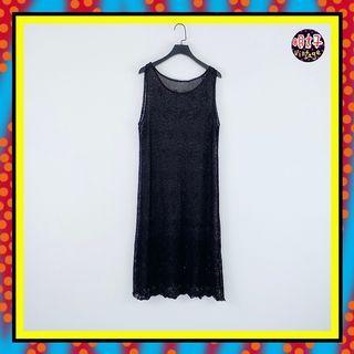二手 黑色 網布 織紋 彈性 無拉鍊 洋裝 D615 【明太子 古著應召站】