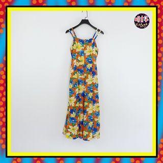 二手 橘黃藍配色 印花 輕薄飄逸 腰綁帶 傘裙 洋裝 D615 【明太子 古著應召站】