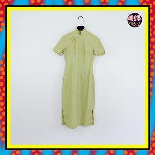 二手 傳統美德 綠色 旗袍 短袖 洋裝 D616 【明太子 古著應召站】