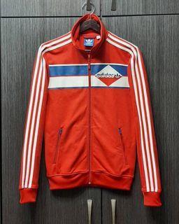 正品ADIDAS愛迪達三葉 男女可穿紅色立領運動外套S