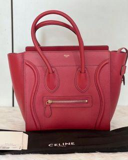 Authentic Celine Micro luggage in Coquelicot Red