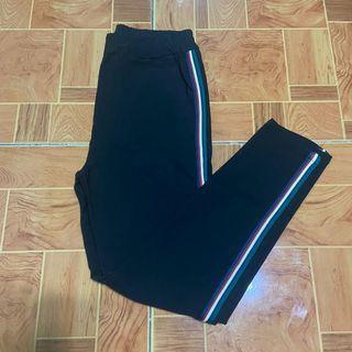 Black Side Track Pants/ Slacks