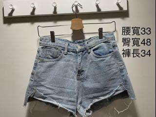 Caco淺藍高腰反折牛仔短褲