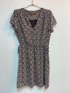 H&M 英式鄉村風黑白碎花洋裝 XL