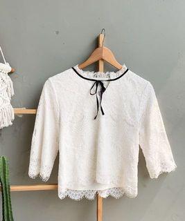 Laces crop blouse