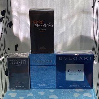 Mens perfume clearance, Hermes d Hermes terre intense edp intense 100ml, ck enternity edt 100ml, Versace eau frachie 100ml, bvlgari blv edt 100ml