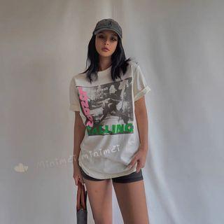 Minimei追加款✪韓系韓版歐美風氣質風百搭休閒自100%水洗棉寬鬆T恤 London Calling龐克上衣T