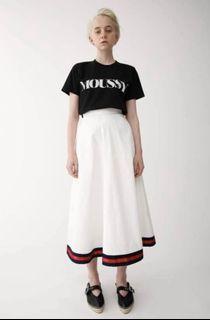 日貨正品moussy白色重磅傘裙s