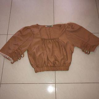 (new) bkk square neck brown babydoll crop top