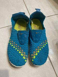 NIKE 二手 free woven 女鞋 男生小尺寸 us6 24cm 編織 懶人鞋 無盒 no box 藍綠色 555307-440