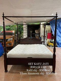 Set katil kayu jati + tilam
