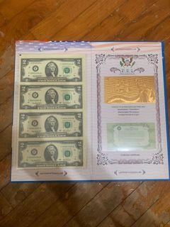 USD 2 Uncut with folder - Nice Number 999 (with folder and bag)