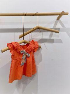 全新桔色V領荷葉邊無袖洋裝