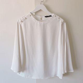 zara basic珍珠釦圓領寬袖百搭雪紡上衣