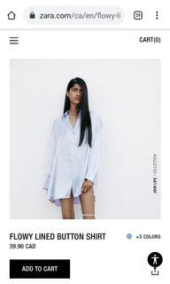 Zara flowy baby blue lined shirt