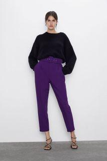 ZARA High-Waisted Trousers With Belt