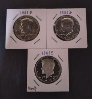 1980 P, D & S, usa half dollar coins, BU