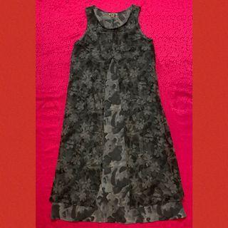 深灰色雪紡網紗雙層印花長洋裝