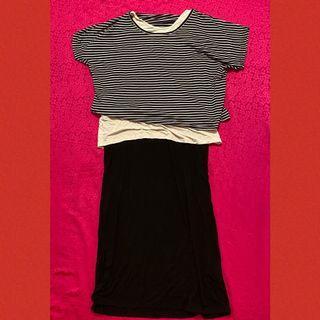 莫代爾棉黑白條紋拼接棉假兩件長洋裝