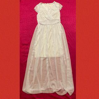 女神款純白色落地長洋裝/禮服