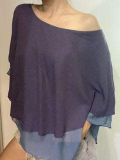 紫色 斗篷式飄逸垂墜感上衣 平口、圓領、削肩