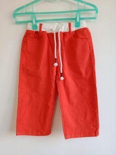 捷比專櫃-橘紅色棉麻七分褲