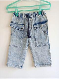 藍色刷白個性牛仔童褲