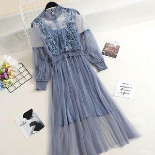藍色蕾絲紗裙洋裝