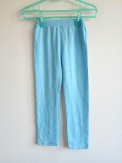 藍色彈性棉質防紋長褲